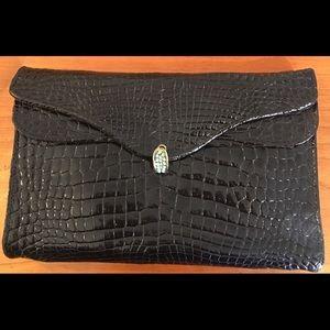 Black Alligator Vintage French Morabito Clutch Bag